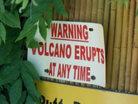 Don't worry - the volcano is way up high, and the flame isn't that big. You can keep playing golf around the volcano - if the noise doesn't distract you!