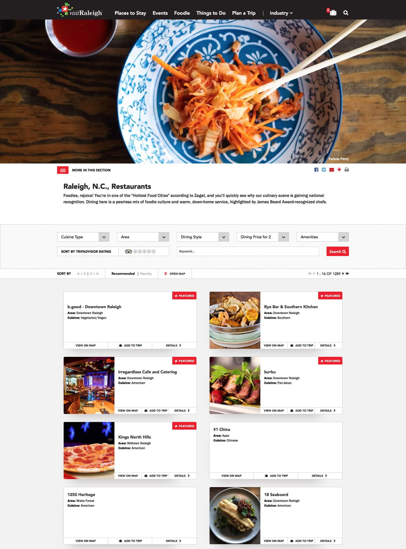 Restaurants page