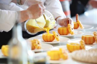 Chef making pumpkin dessert