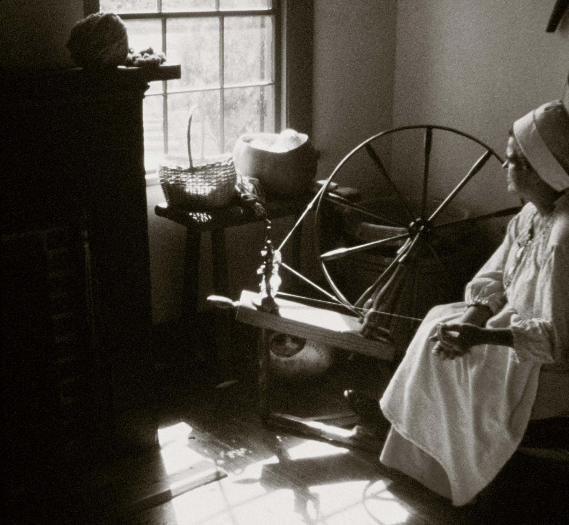 Black & White Photo of a Cotton Spinner