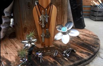 Silverware creations at Frazee Gardens