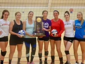 Girls holding NCAA Volleyball Trophy