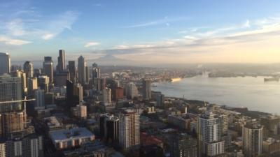 Seattle Space Needle Trip - Skyline view from the observational deck