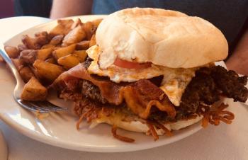 Oasis Diner Brunch Burger loaded with flavor!