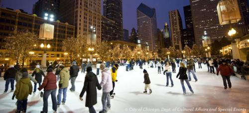 Ice skating in Millennium Park in Chicago