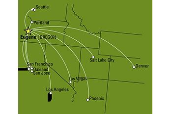 Eugene Airport Flight Map