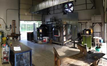 Inside the backyard studio of Hot Blown Glass