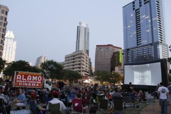 Crowd at an outdoor screening of Strange Brews with Strange Brews at Republic Square Park in Austin,TX.  Photo Credit Jack Plunkett.