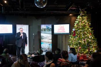 Jorge at Mexico event with Xmas tree
