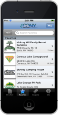 Screenshot of campgrounds listed on the new CONY app
