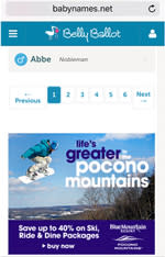 Winter 2015/16 – Online – BabyNames.net – Blue Mountain Resort