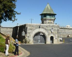Our Hometown Tourists get a little too close to the actual prison!  Photo by Cindy Gibbs.