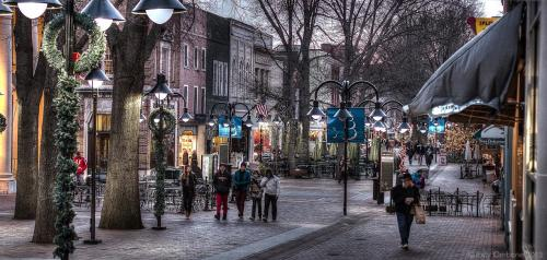 People on the Downtown Mall during the holidays