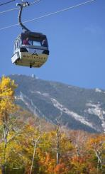 The scenic view from the Whiteface Mountain foliage gondola
