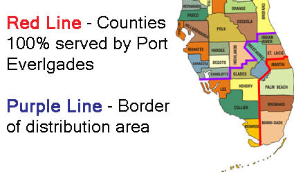 Map of Florida counties serve by petroleum products from Port Everglades