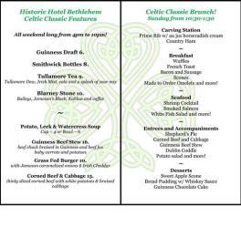 Hotel Bethlehem Special Menu