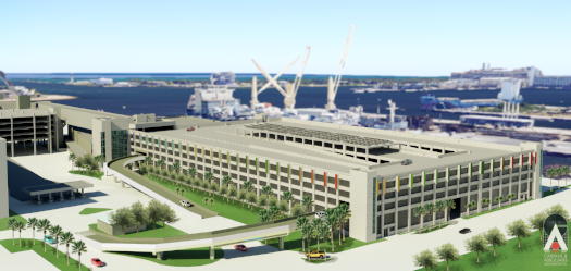 New six-story parking garage at Cruise Terminal 3 in Northport will connect with the Cruise Terminal and the Northport Parking Garage.