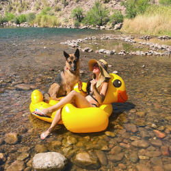 Salt River Floating Girl and Dog - Crowdriff