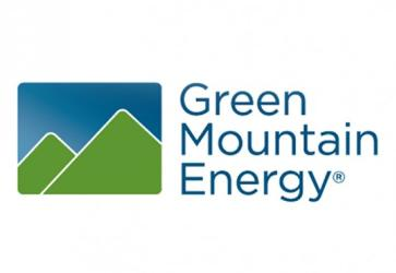 Green Mountain Energy logo with mountains in green and blue