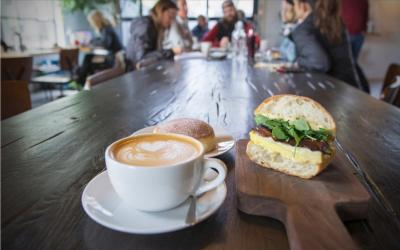 Latte and Egg Sandwich at Fox in the Snow Cafe