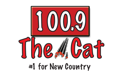 100.9 The Cat #1 for New Country logo in red