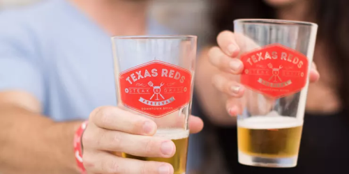 Texas Reds Festival half-full beer glasses