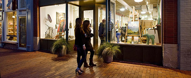 Two Women Gallery Browsing on Pearl Street