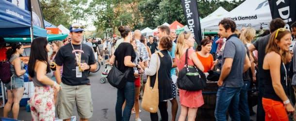 Crowds Enjoying the Adventure Film Festival Street Fair