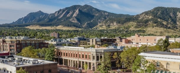 Downtwon Boulder with Flatirons