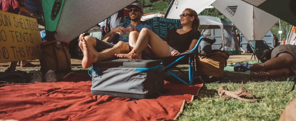 People lounging on the Kelty blanket