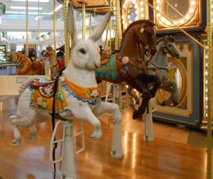 A well-turned rabbit waits for riders at the Carousel in Glenbrook.