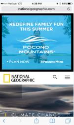 2017 Summer Marketing Campaign -  Online - NationalGeographic.com - Pocono Mountains Visitors Bureau