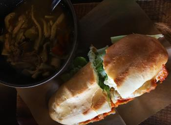 Buffalo Chicken Sandwich and Chicken Noodle Soup at The Beehive