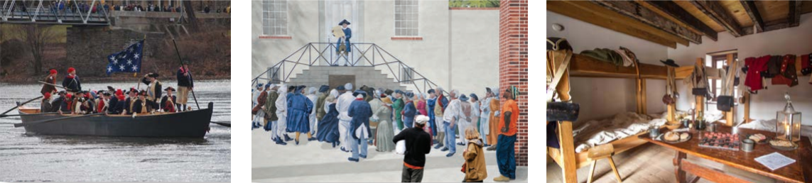 Patriots Week images: crossing the Delaware, mural and living quarters