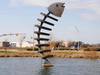 Fish sculpture near Shops at Perry Crossing in Plainfield