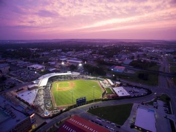 Hot Rods Baseball Field at Night