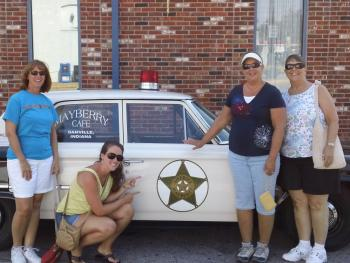 Visitors with Mayberry deputy car