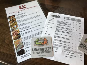 Beer and grub menus at Brew Link