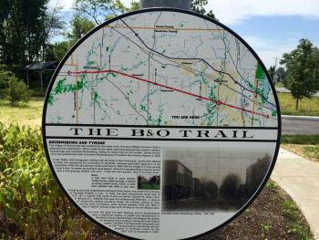 Sign on the B&O Trail at Green Street in Brownsburg.