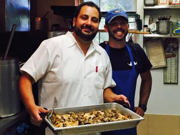 Damiano Perillo (in white) runs my favorite place to eat: Perillo's Pizzeria in North Salem.