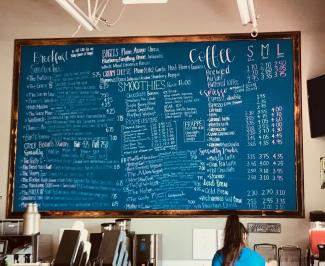 Cool menu board with all the drink selections!