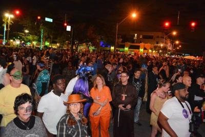 People dressed in costumes for the Wicked Manors Halloween event in Wilton Manors