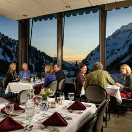 Dinner in the Alta Lodge dining room.