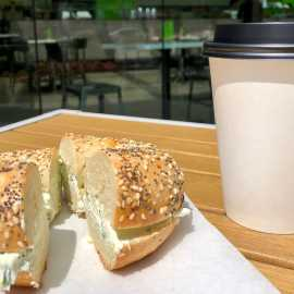 Coffee at bagels and greens