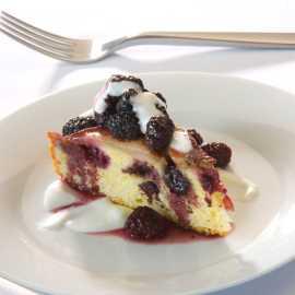Blackberry pear upside down cake