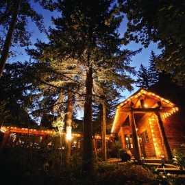 Millcreek Canyon - Log Haven Restaurant Entrance at Night