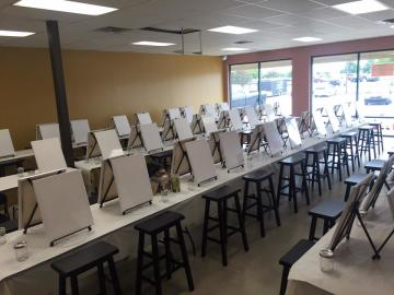 Paint and Sip class ready to get started at The Sparkling Canvas.