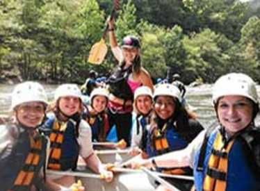 Girls on rafting trip