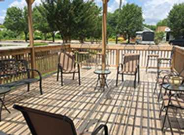 Outdoor deck at Burns Tobaccionist/Hamilton Place
