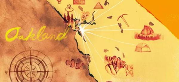 Gold Matador map of Oakland with compass